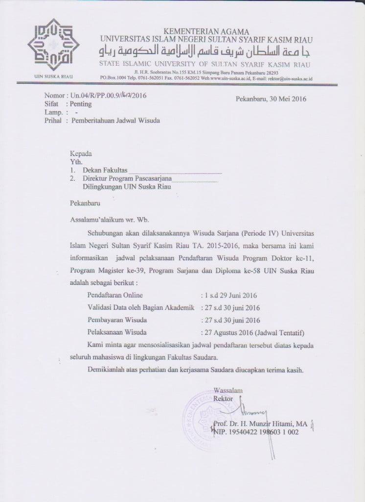 Jadwal Wisuda UIN SUSKA Periode IV 2016