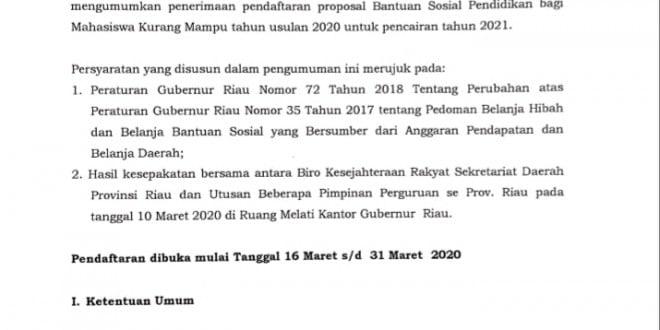 Penerimaan Proposal Bantuan Sosial Pendidikan Mahasiswa Kurang Mampu Tahun 2020 Universitas Islam Negeri Sultan Syarif Kasim Riau