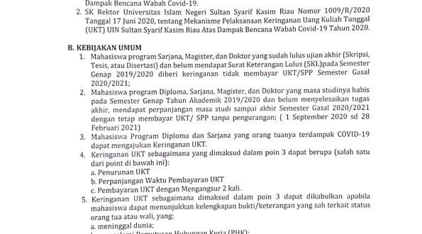 Keringanan Uang Kuliah Tunggal Ukt Atas Dampak Bencana Wabah Covid 19 Universitas Islam Negeri Sultan Syarif Kasim Riau