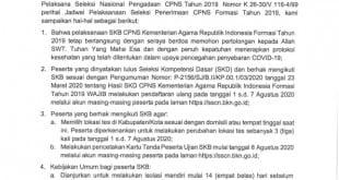 PENGUMUMAN PENDAFTARAN ULANG PESERTA SKB CPNS FORMASI TAHUN 2019_001