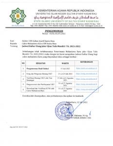 Jadwal Daftar Ulang Jalur Ujian Tulis Mandiri TA.2021/2022